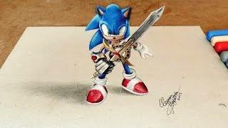 Drawing Sonic 3D | Desenhando o Sonic Com Efeito 3D