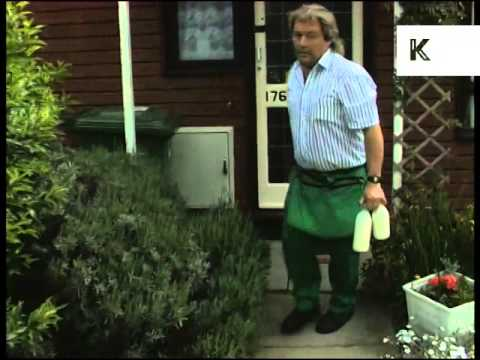 Mid 1990s Milkman Delivering Milk, UK Archive Footage