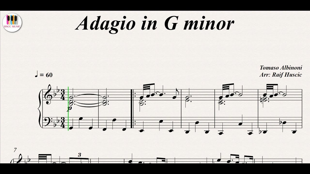 Adagio In G Minor Tomaso Albinoni Piano Youtube