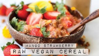 Mango Strawberry Raw Vegan Cereal Bowl {HCLF}