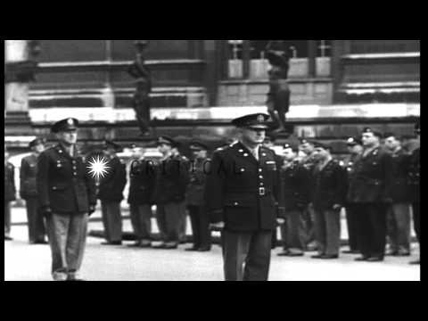 United States and British officers receive the Legion of Merit at SHAEF in Paris,...HD Stock Footage