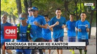 Wagub Jakarta Sandiaga Uno Berlari ke Kantor