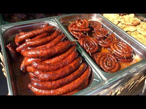 Grilled Sausage, Slovak Cuisine, Stret Food in Slovakia, Slovak Food