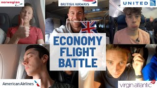 New York to London ECONOMY FLIGHT BATTLE | Comparing FIVE different airlines