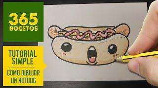 COMO DIBUJAR UN  HOT DOG KAWAII PASO A PASO - Dibujos kawaii faciles - How to draw a hot dog