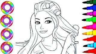 Colouring Drawings Barbie Fashionistas with Golden sparkle Hair Coloring Pages l How to Color