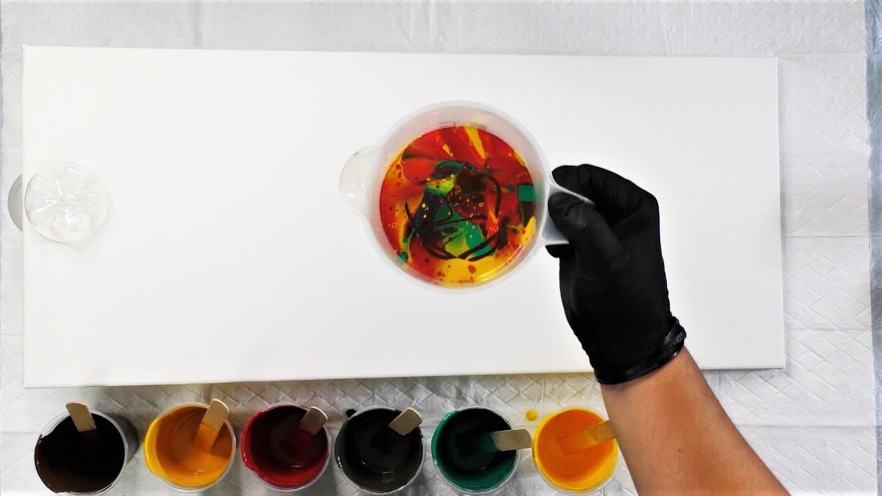 Dirty Waterfall Pouring Acrylic - Acrylic Pouring Dirty Cup - Acrylic Pour Painting ! Fluid Art !