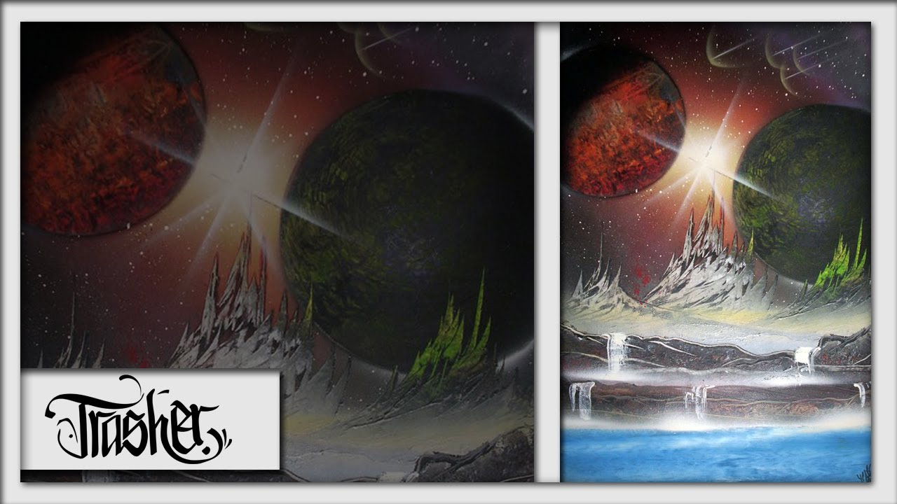 spray paint art out of space by trasher youtube. Black Bedroom Furniture Sets. Home Design Ideas