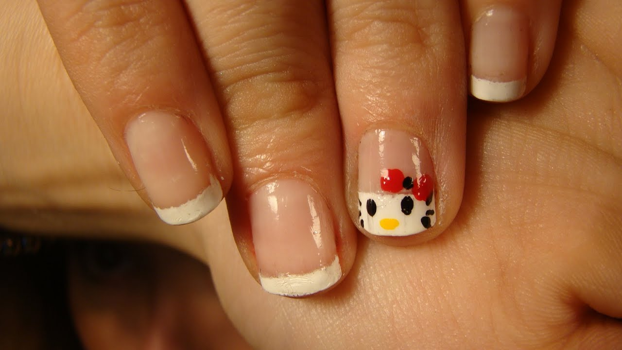Diseño de uñas Manicura Hello Kitty - YouTube