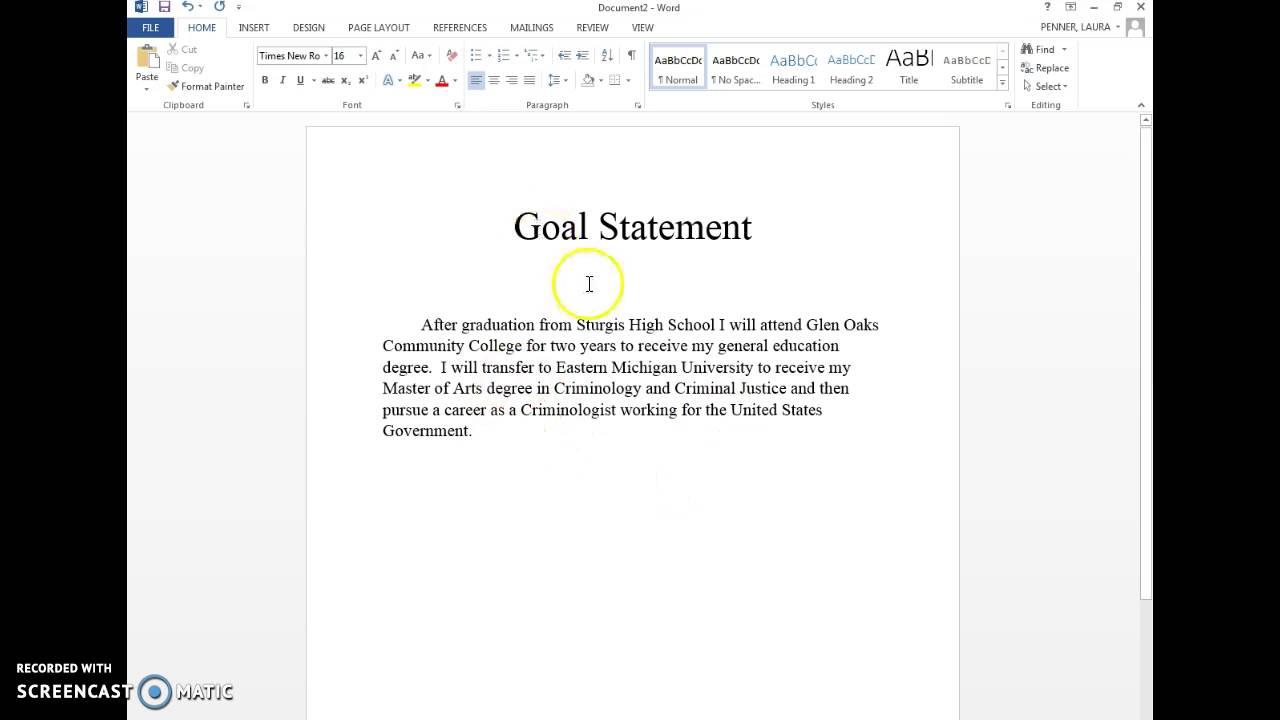 Goal Statement - YouTube