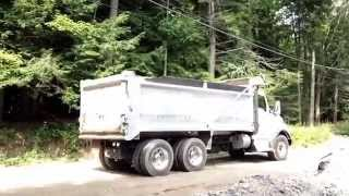 Dump truck backing up