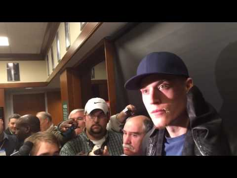Boston Celtics wing Jonas Jerebko reacts to flagrant foul by James Harden