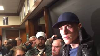 Boston Celtics wing Jonas Jerebko reacts to flagrant foul by James Harden