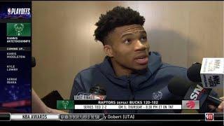 Giannis Atetokouonmpo (MIL) Postgame Interview  Raptors def. Bucks 120-102   Game 4 NBA East Final