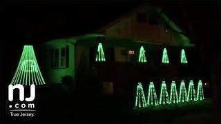 Eagles fan's Super Bowl light show