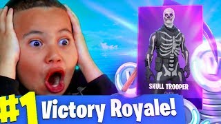 SURPRISING MY LITTLE BROTHER WITH *RARE* SKULL TROOPER SKIN FOR HIS BIRTHDAY! FORTNITE CRAZY GIFT!!!