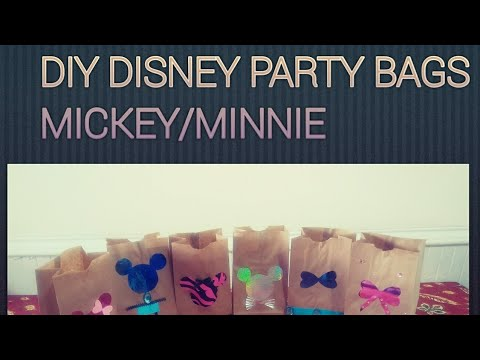 DIY How to make Disney Mickey and Minnie Mouse Party Bags with Dollar Tree items. birthday party.