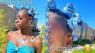 🦋💙Bantu Knots Tutorial using Braiding Hair (on short natural hair) ft. Ezbraid hair| Theodora E