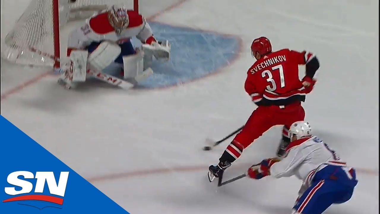Hurricanes' Andrei Svechnikov Burns Shea Weber Then Goes Backhand On Carey Price