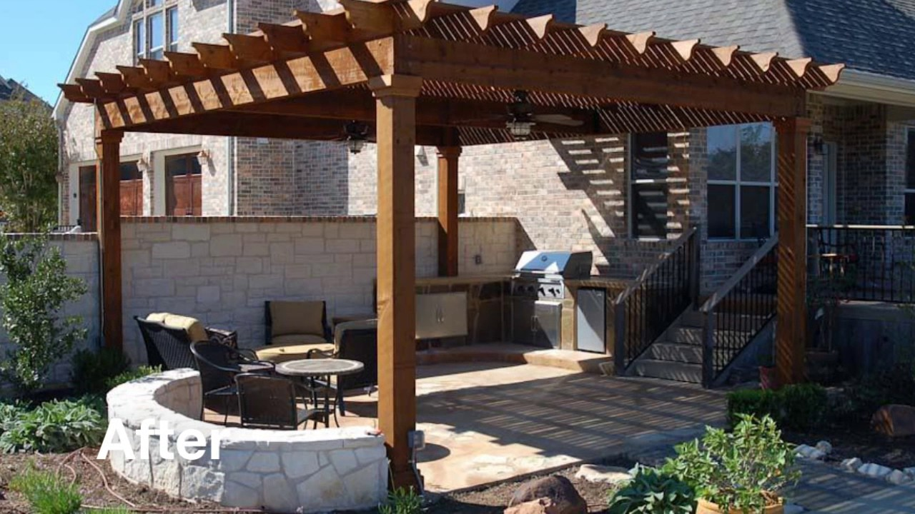 Austin Outdoor Living - Before & After - 8 - Pergola & Stone Fence ...