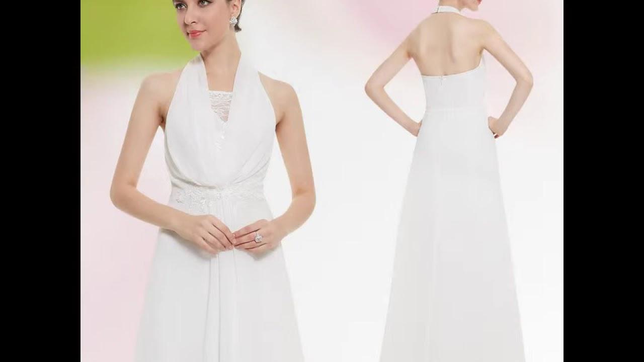 abendkleid / weißes neckholder kleid - günstige abendkleider