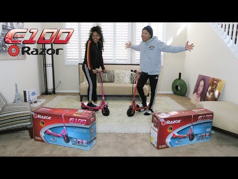 UNBOXING OUR NEW E100 ELECTRIC RAZOR SCOOTERS!!