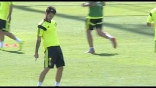 Isco celebrate like Cristiano Ronaldo after he beats De Gea in Spain Trainig 2015