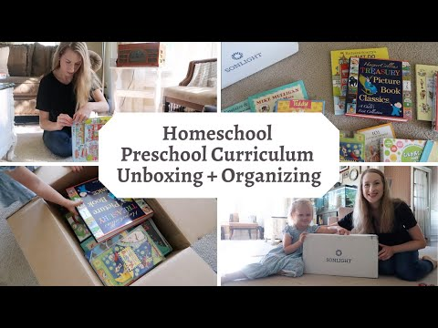 Homeschool PRESCHOOL Curriculum Unboxing + Organization // Sonlight Preschool Level Homeschool Prep