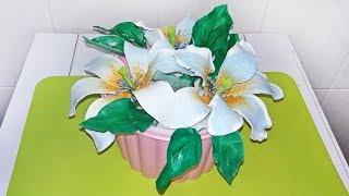 Красивый Цветок На Торт. Изысканная Лилия Пошагово.  (Моя Флористика) / How To Make Sugar Flowers