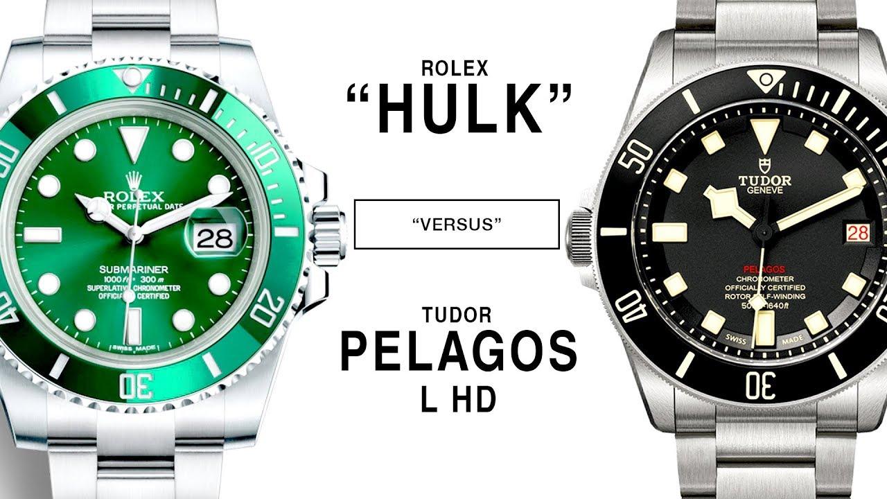 ROLEX vs TUDOR SUBMARINER HULK vs. PELAGOS LHD 116610LV vs. M25610TNL,0001