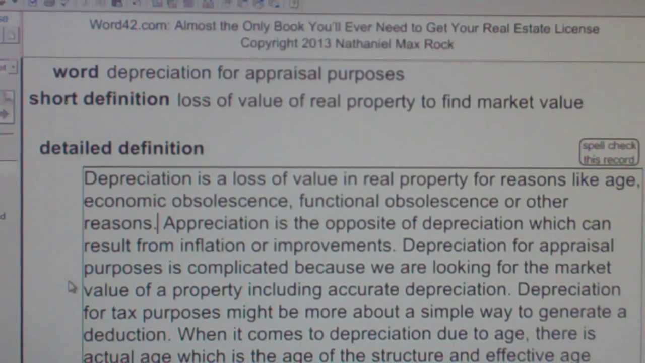 depreciation for appraisal purposes CA Real Estate License Exam – Words for Appraisal