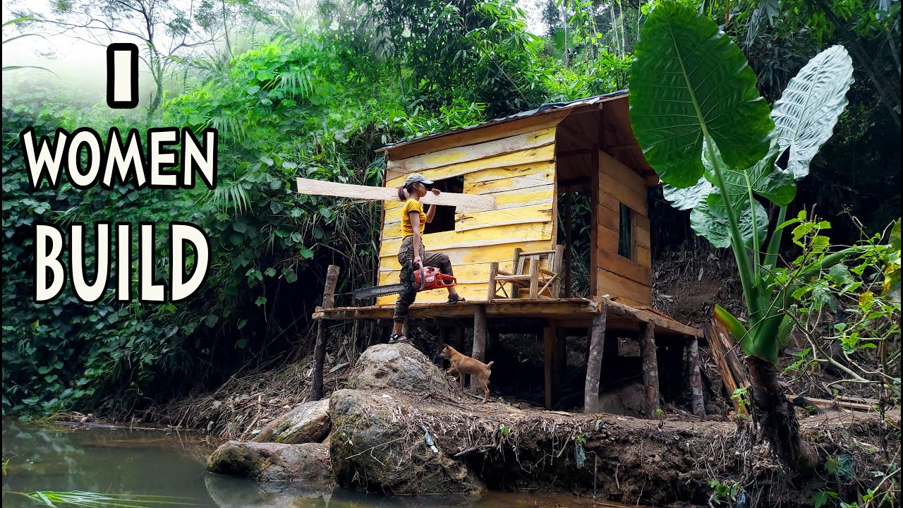 Building a Log Cabin in the rainforest by ONE WOMEN alone (p3)   Living Off The Grid — Ep.12