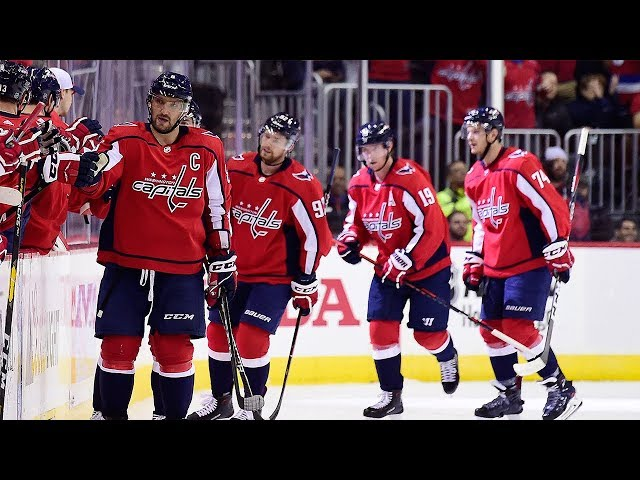 Alex Ovechkin blasts home two identical power-play goals from Carlson
