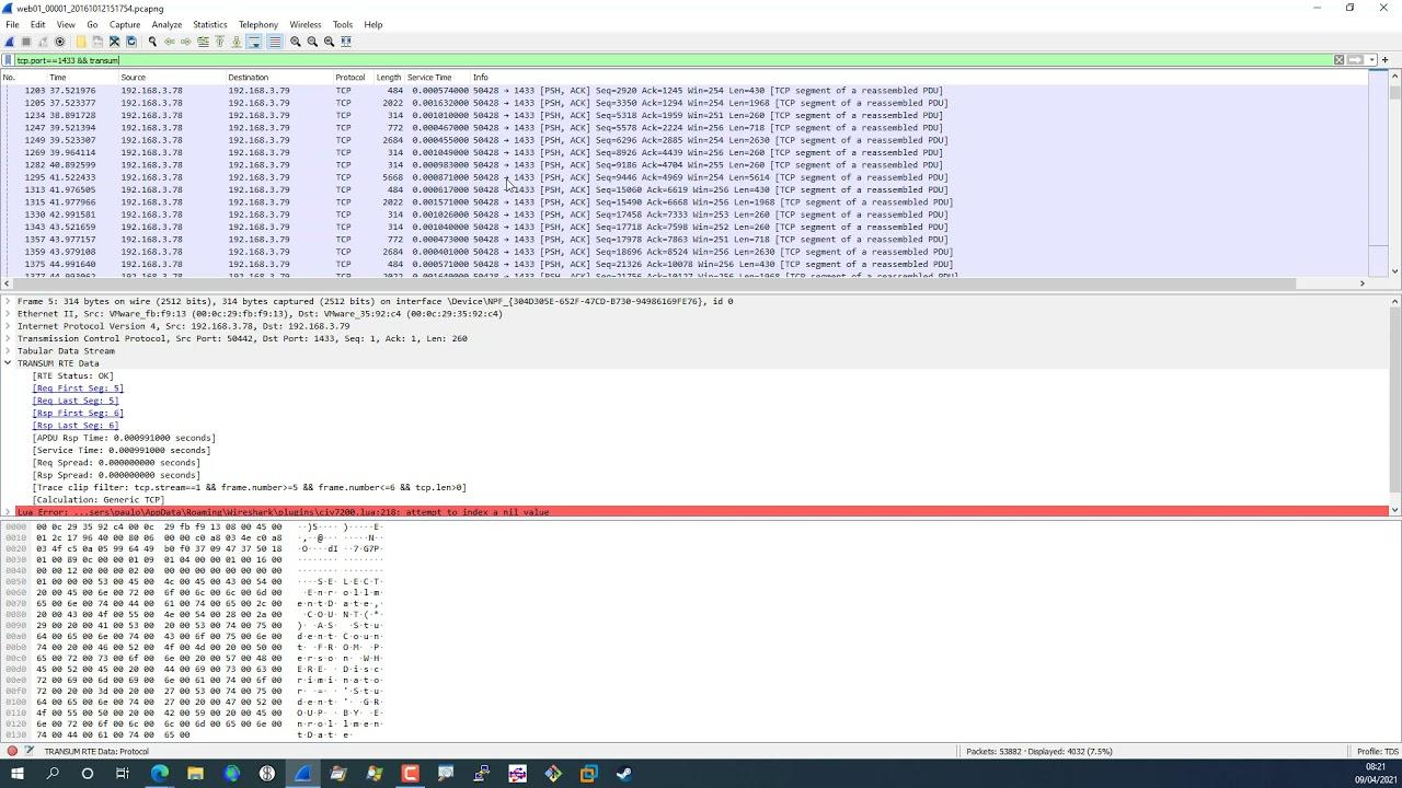 Analysing Microsoft SQL Server performance using Wireshark