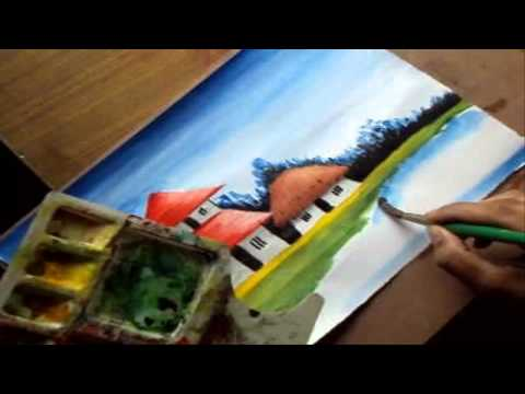 How to Paint a Village Scenery in Water Color | Drawing Houses, Pond, Distant Trees