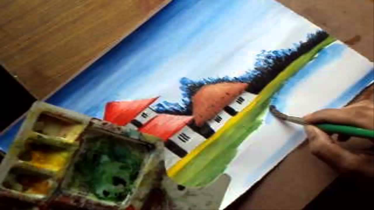 How to paint a village scenery in water color drawing houses pond distant trees youtube