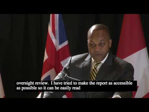The Honourable Justice Michael H. Tulloch delivers report to Government of Ontario - April 6, 2017