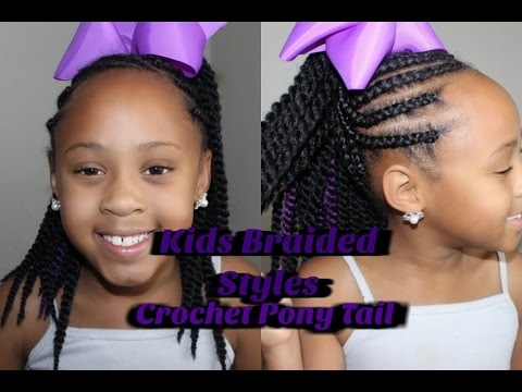 How To Corn Roll Crochet Ponytail Kids Braided Styles Youtube