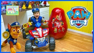 Huge Paw Patrol Egg Surprise Toys w/ Power Wheels Ride On Car & Chase!