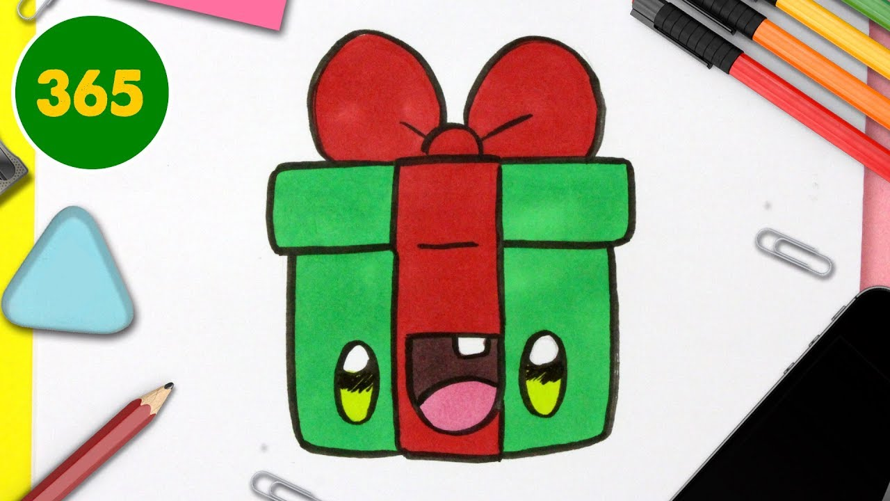 Comment Dessiner Un Cadeau De Noël Kawaii Dessins Kawaii Facile