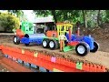 Building bridge with Grader, Truck, Excavator,Road Roller | Building blocks colore toys for kids