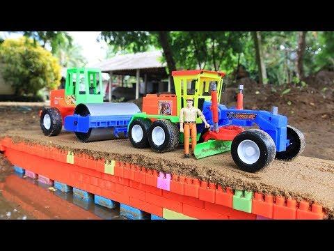 Building bridge with Grader, Truck, Excavator,Road Roller   Building blocks colore toys for kids
