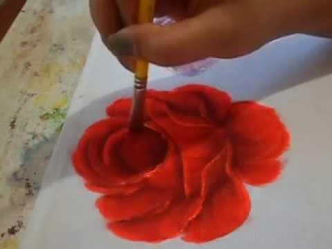 Como Pintar Rosa Vermelha Youtube