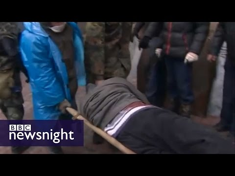 Under sniper fire: The unseen footage from Kiev - BBC Newsnight