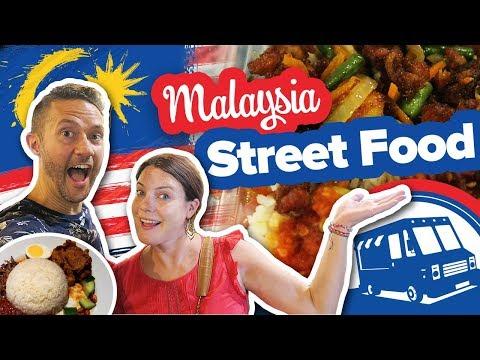 Trying Street Food In Malaysia. Food Truck Park In Kuala Lumpur. Malaysian Food Tour