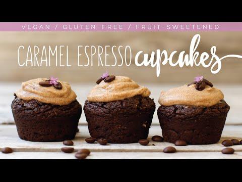 Vegan Caramel Espresso Cupcakes // gluten-free, oil-free, fruit-sweetened