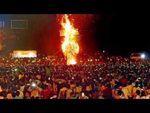 World tallest Ravana burn in Panchkula 2018   210 foot tall   Panchkula  30 lakhs   Dussehra 2018  