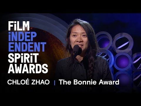 CHLOÉ ZHAO wins the Bonnie Award at the 2018 Film Independent Spirit Awards