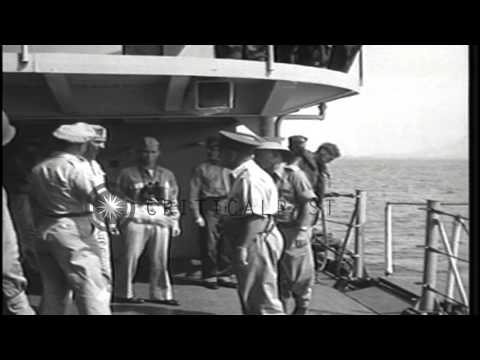 Australian officers come aboard USS Cleveland off the coast of Balikpapan, Borneo...HD Stock Footage