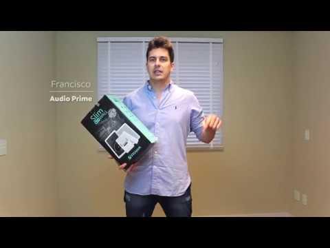 KIT SLIM WALL FRAHM AMPLIFICADOR DE PAREDE BLUETOOTH USB FM COM CONTROLE REMOTO